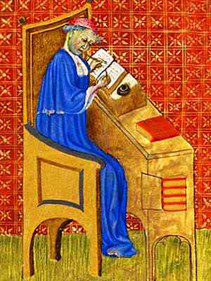 Illumination of Oresme in his cathedra, a book open on a sloped writing stand on desk alongside. He is writing with a reed.