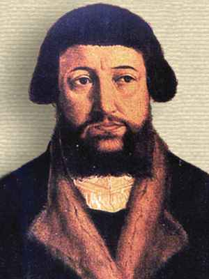 Drawing of Andreas Osiander, head and shoulders, facing forward