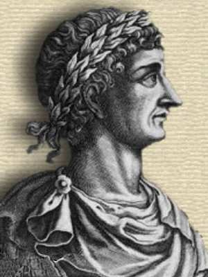 Detail from engraving showing head and shoulders of a representation of Ovid, facing right, with decorative frame.