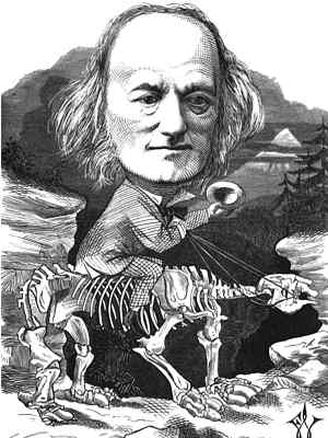 Drawing of Richard Owen, drawn seated holding reins on the back of a skeleton resembling a giant sloth