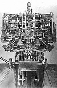 Photo of early Owens bottle making machine