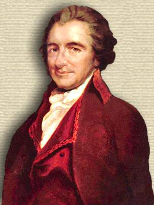 Oil portrait of Thomas Paine, head and shoulders, facing left