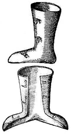 Engraving of a leather boot, split down the shin, over top of foot and sole to wrap around a foot secured with hooks and loops