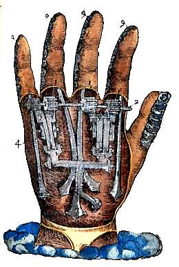 Engraving showing cutaway of a mechanical hand operated by catches, small gears and springs inside a leather glove