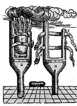 Engraving of a prosthetic peg leg. Shin stump held between two splints with two buckled leather straps around them.