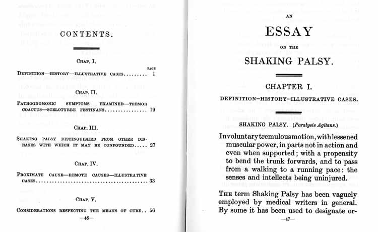 Contents page and first page of Essay on the Shaking Palsy, by James Parkinson, 1817
