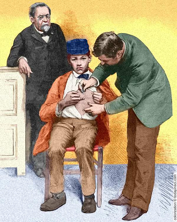 Drawing of child in chair being inoculated in the chest by doctor while Pasteur looks on.  Colorization © todayinsci.com