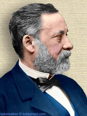 Photo of Louis Pasteur, head and shoulders, facing right. Colorization © todayinsci.com