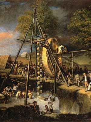 Painting of site, recovering mastodon bones from large excavation, with large bucket wheel rig for lifting out water