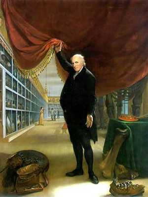 Portrait of Charles Willson Peale, full body, face front holding up curtain to reveal a view inside museum, art & mastodon bones