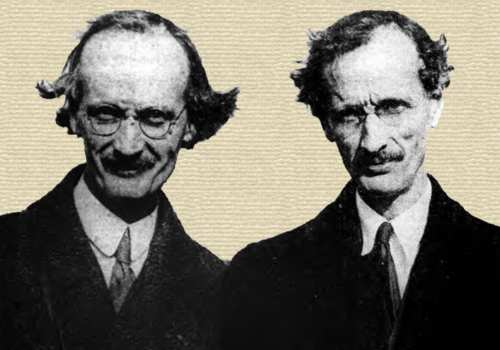 Newspaper photo of Auguste and twin borther Jean Piccard - head and shoulders