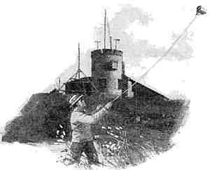 Sketch showing Greenleaf Picard kite flying in field in foreground, with stone tower with radio masts on hill in background