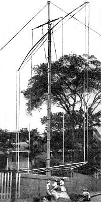 Photo of antenna with pole (taller than telephone pole) with long crossmembers top & bottom with several vertical wires between
