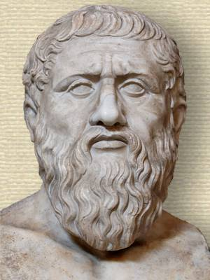 Marble bust of Plato, head and shoulders, facing forward. A Roman copy after a Greek original from the last quarter 4th century.