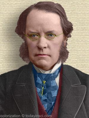 Photo of Lyon Playfair, middle aged, head and shoulders facing forward. Colorization © todayinsci.com
