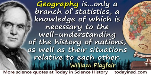 William Playfair quote: Geography is … only a branch of statistics, a knowledge of which is necessary to the well-understanding