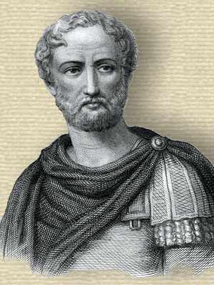 Engraving of Pliny, head and shoulders, facing front, toga over shoulder