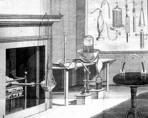 Plate from Priestley's book showing apparatus for experimenting with various airs (gases).