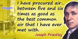 Joseph Priestley quote: I have procured air [oxygen] ... between five and six times as good as the best common air that I have e