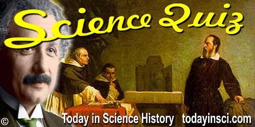 Science Quiz heading showing Galileo facing Inquisition, with overlay of Einstein in profile.