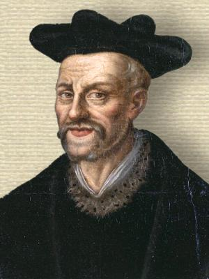 Portrait of Francois Rabelais, head and shoulders, facing front