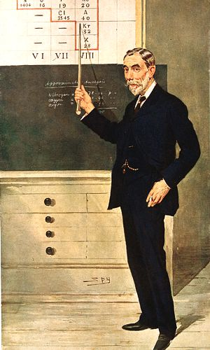 Drawing of Sir William Ramsay lecturing showing chart of periodic table and chalk board