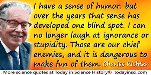 Charles Richter quote: I have a sense of humor; but over the years that sense has developed one blind spot. I can no longer laug