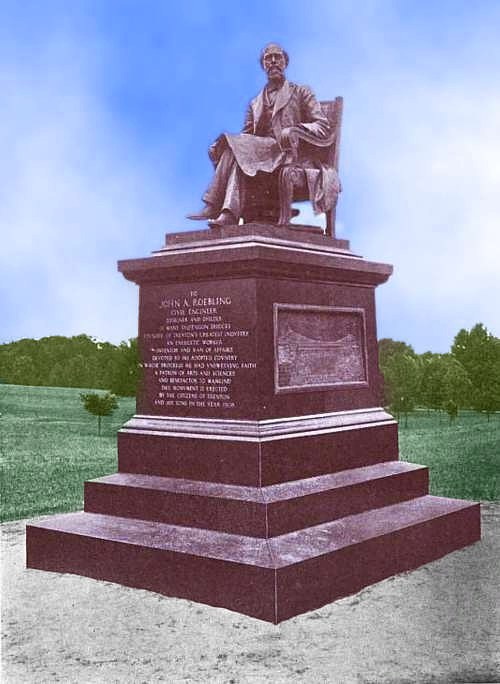 Photo of monument to John Augustus Roebling. Statue of Roebling, seated, atop a massive plinth w/inscription and panel of bridge