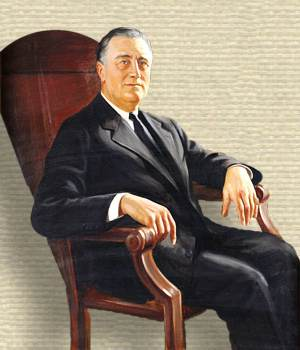 Painting of Franklin D Roosevelt, 3/4 body, seated in a chair, facing right, arms on armrests