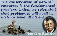 "Theodore Roosevelt quote ""The conservation of natural resources is the fundamental problem"" + ducks on water background"