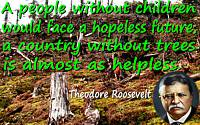 "Theodore Roosevelt quote ""people without children would face a hopeless future…without trees…as helpless"" tree stump background"