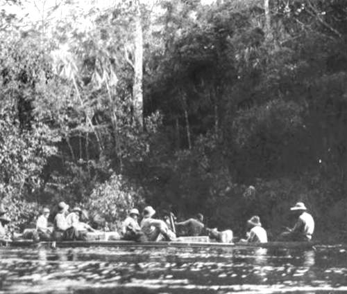Photo of Theodore Roosevelt's expedition in canoes on a river in South America