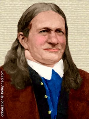 Photo of Friedlieb Runge, head and shoulders, facing right, colorization © todayinsci.com