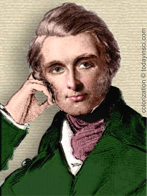 Frontispiece drawing of John Ruskin, head & shoulders facing forward. colorization © todayinsci.com