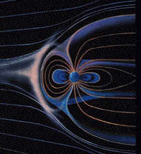 Artist's illustration of solar bursts moving into the Earth's magnetic field.
