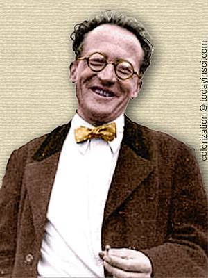 photo of Erwin Schrodinger - upper body - colorization © todayinsci.com