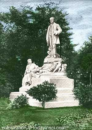 The Semmelweis Monument, Budapest from painting for Medical Review of Reviews