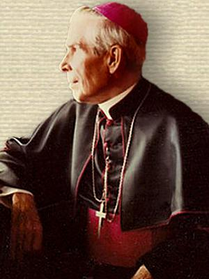 Photo of Bishop Fulton Sheen, seated - upper body