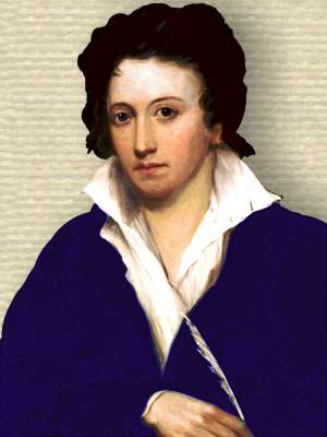 Portrait of Percy Shelley, head and shoulders, facing front, holding quill in hand