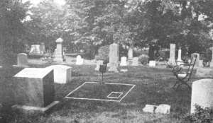 Photo showing view of cemetery headstones surrounding the vacant plot for Sholes' grave. Boundary lines are drawn on the image.