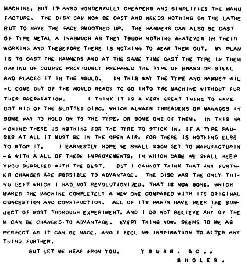 Image of page 2 of a letter sent by Sholes to Charles Edward Weller 28 Sep 1870