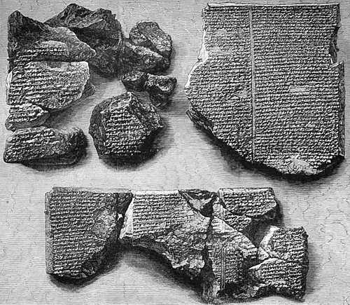 Engraving showing Chaldean Tablet fragments from London Illustrated News (1873)