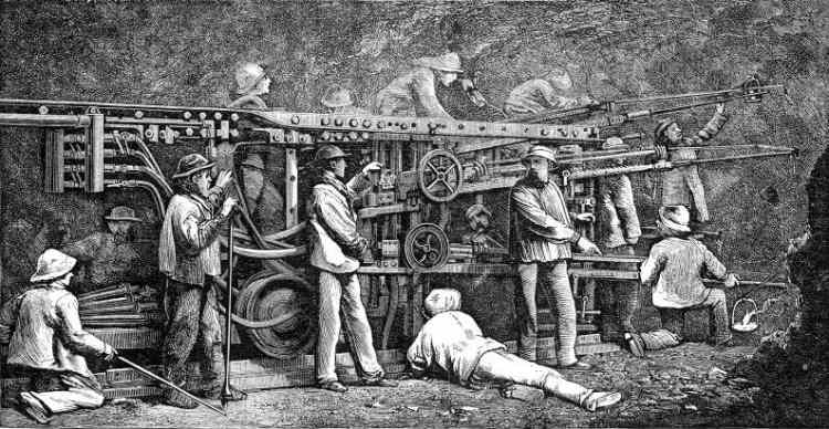 The Sommeiller Boring Machines, from Harper's New Monthly Magazine.