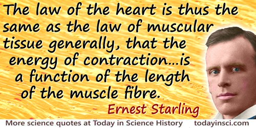 Ernest Henry Starling quote: The law of the heart is thus the same as the law of muscular tissue generally, that the energy of c