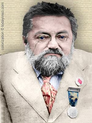 Photo of Charles Steinmetz - upper body - colorization © todayinsci.com
