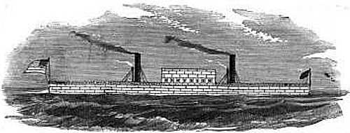 Engraving of Steven's Iron-Clad Floating Battery, broadside view