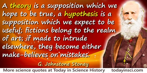 G. Johnstone Stoney quote: A theory is a supposition which we hope to be true, a hypothesis is a supposition which we expect to