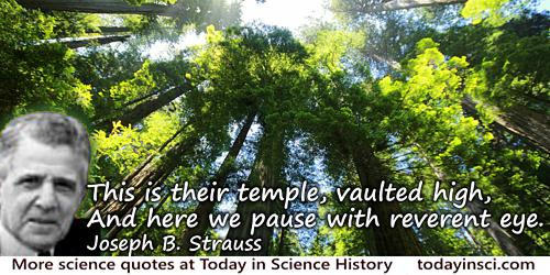Joseph B. Strauss quote: Redwoods - This is their temple, vaulted high, And here we pause with reverent eye.