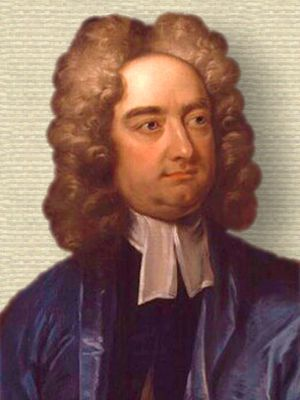 Detail of head and shoulders facing right from oil portrait of Jonathan Swift (1710) by Charles Jervas