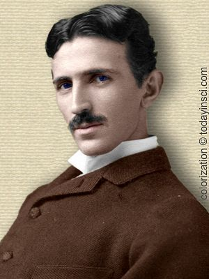 Nikola Tesla photo - head and shoulders - colorization © todayinsci.com